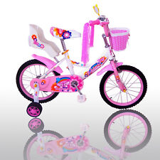 "16"" Children Girls Kids Bike Bicycle With Training Wheels Steel Frame"