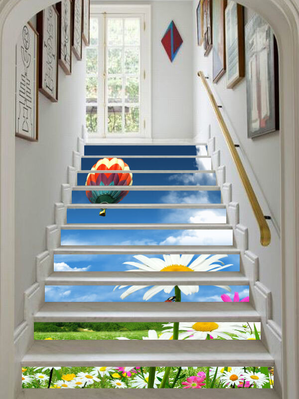 3D Flowers, grass 3 Stair Risers Decoration Photo Mural Vinyl Decal Wallpaper US
