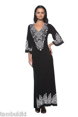 Caftan Style Bell Sleeve Moroccan Design Long Maxi 124 mv Dress S M L XL 2XL 3XL