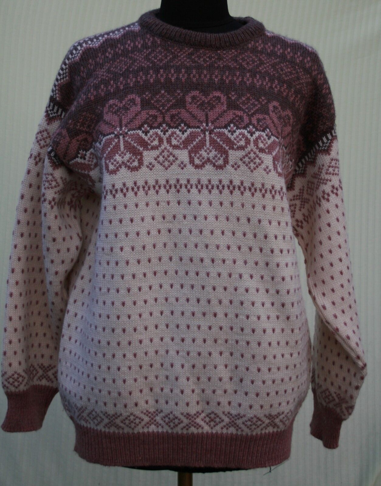Bayard SportZermatt Switzerland Sz XL Dale Design Sweater Wool Mauve Womens