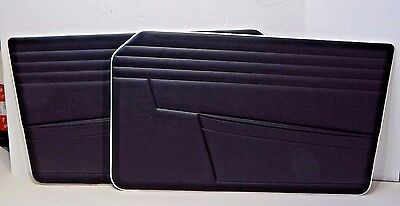 New Pair Door Panel Set Triumph 1968 TR250 TR5 Black w// White Piping Made UK