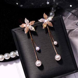 Women-Crystal-Flower-Pearl-Earrings-Ear-Stud-Dangle-Earring-Wedding-Jewelry