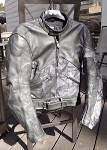 Vintage 1990s Hein Gericke Biker Racing Jacket Black Grey Leather Adult Medium