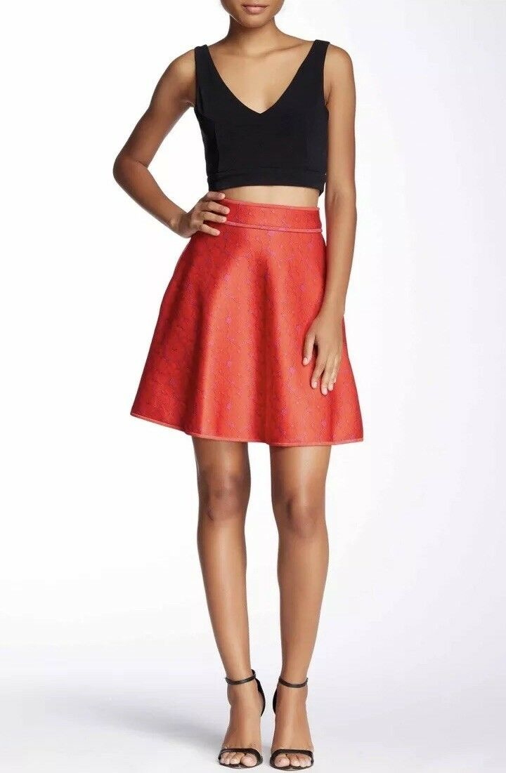 NWT  245 Cynthia Rowley rot lila Lace Floral Bonded A-Line Pockets Skirt 10 M