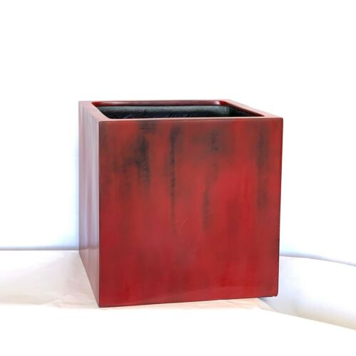 20-23 Inches High Quality Large Cube Fiberglass Planter In Antique Red