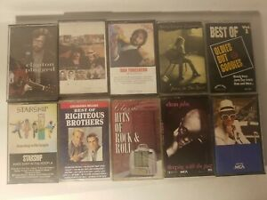 Lot-of-10-classic-rock-cassette-tapes-Good-condition-Elton-John-Clapton