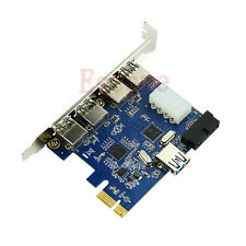 5 Ports PCI-E PCI Express Card to USB 3.0+19 Pin Connector 4 Pin Adapter New