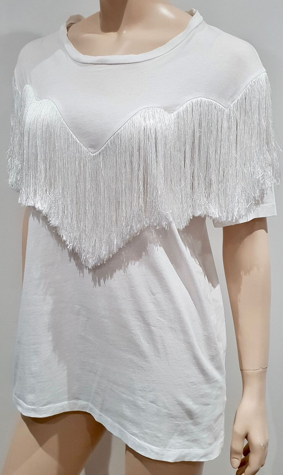 ACNE STUDIOS White Cotton JOSHI FRINGE Silk Blend Fringed T-Shirt Tee Top M
