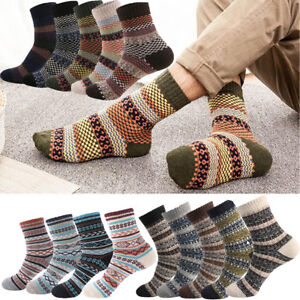 Mens-National-Stripe-Warm-Winter-Thick-Wool-Rabbit-Blend-Cashmere-Casual-Socks
