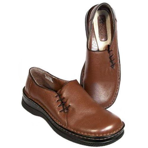 New NATURAL SOUL femmes marron Leather Flat Slip On Dress Pump Loafer chaussures Sz 6 M