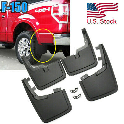 2015-2018 Ford F150 Front Rear Black Molded Splash Guards Mud Flaps w//o Lip OEM