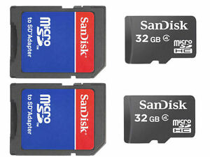Lot-of-2-x-32GB-64GB-SanDisk-Micro-SD-SDHC-Class-4-Flash-Memory-Card-w-Adapter