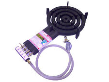 4 Ring LPG Gas Burner Cast Iron Cooker with Hose + Regulator BBQ Camping Stove