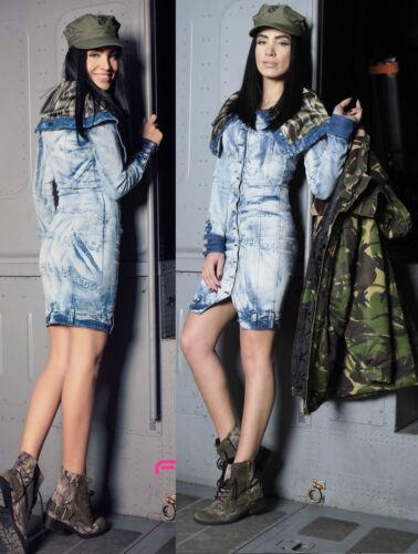 Foggi Donna Vestito Abito Jeans Jeans abito miniabito mimetico tarn BLU XS S M