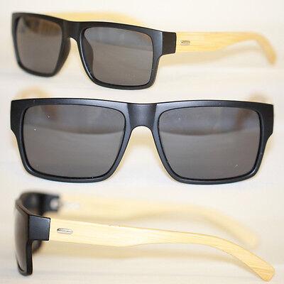 Effizient Original Bamboo Bambus Flattop Sonnenbrille Schwarz Matt Holz Polarisiert 997 äRger LöSchen Und Durst LöSchen