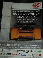 38 AVD OLDTIMER GP NURBURGRING PROGRAMME 2010 BMW M1 CSL FORD GT40 LOTUS 23B