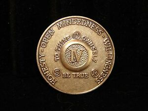 Alcoholics Anonymous 4 Year AA Bronze Medallion Token Coin Chip Sobriety Sober