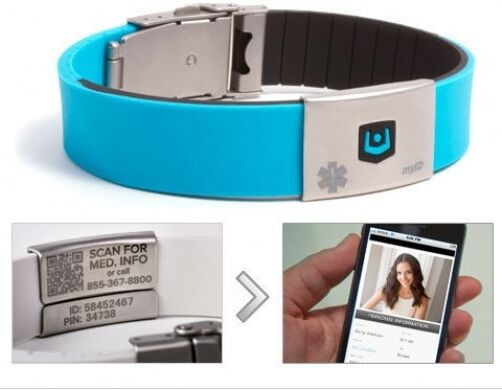 Lifestrength Myid Personal Identification Medical Bracelet Wristband Turquoise Ebay