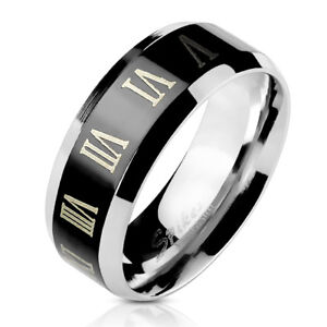 Man ring Roman Numerals stainless steel