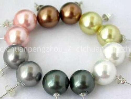 Vente en Gros 6 Paires 10 mm South Sea Shell Pearl Stud Argent 925 Boucles d/'oreilles C40147