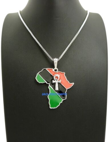 Ankh On Pan-African Africa Pendant Necklace With 24 Inch Chain