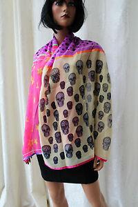 AgréAble Magnifique écharpe ♛ étole ♛ Un Pashmina Peace étoile Tête De Mort Rose 170x70cm ❤ 239i Avec Une RéPutation De Longue Date