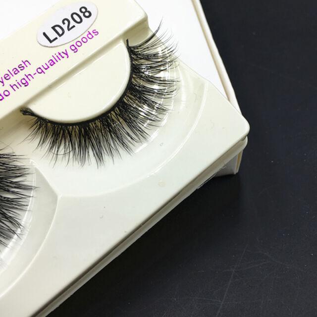 100% Real Mink Natural Thick False Eyelashes Fake Eye Lashes Makeup Extension