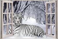 Huge 3D Window view Snow Tiger Wall Sticker Mural Film Art Decal Wallpaper S18