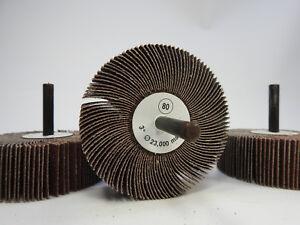 "1/""x1/"" 1//4/"" Shank 80 Grit Flap Wheels Firm Aluminum Oxide 10pcs CGW 39909"