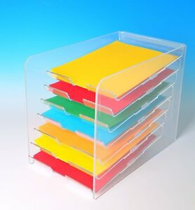 image is loading paper tray display desktop paper organizer 7 tier