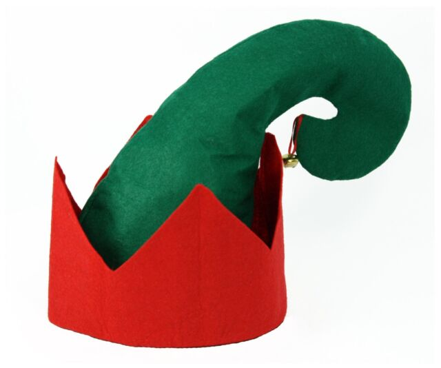 "Large 7.25/"" Dia Green White Economy Felt Adult Christmas Santa Elf Costume Hat"