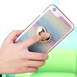 Crystal-Diamond-Bling-Glitter-Ring-Stand-Lot-Case-Cover-Protection-Soft-Bumper
