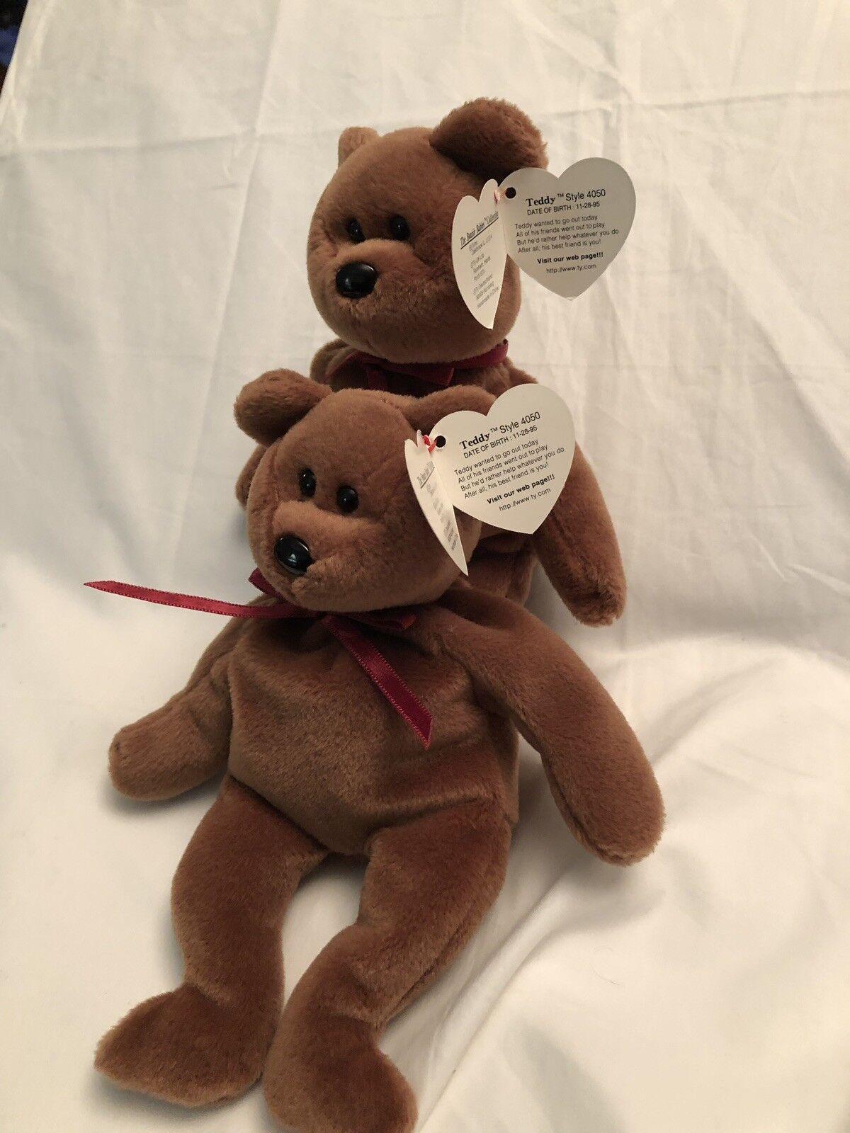 2 Ty Beanie Baby  TEDDY  The Bear Style Style Style 4050 - PVC TAG ERROR 1993 1995 - RETIRED 1cc460