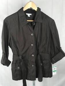 NWT-Charter-Club-Women-039-s-s-Large-Light-Coat-Jacket-Shirt-Belted-Retail-60-V