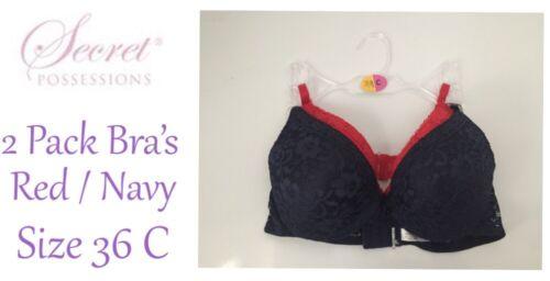 Femmes Soutien-Gorge Set de 2 Taille 36 C Rouge//Bleu Marine Rembourré Bretelles réglables NEUF avec étiquettes