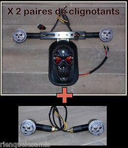 Feu-stop-Tete-de-Mort-Skull-Support-de-plaque-2-paires-de-clignotants-Noir