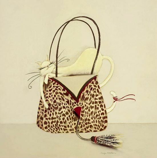 Marilyn Robertson the cat out of the bag II telaio-Immagine telaio-Immagine telaio-Immagine 50x50 TELA GATTO ff4110