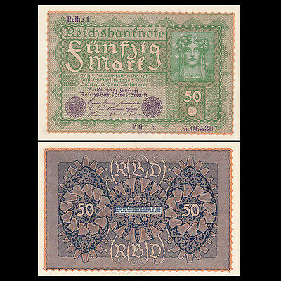 A-UNC Germany 50 Mark Banknotes P-66 1919 Original