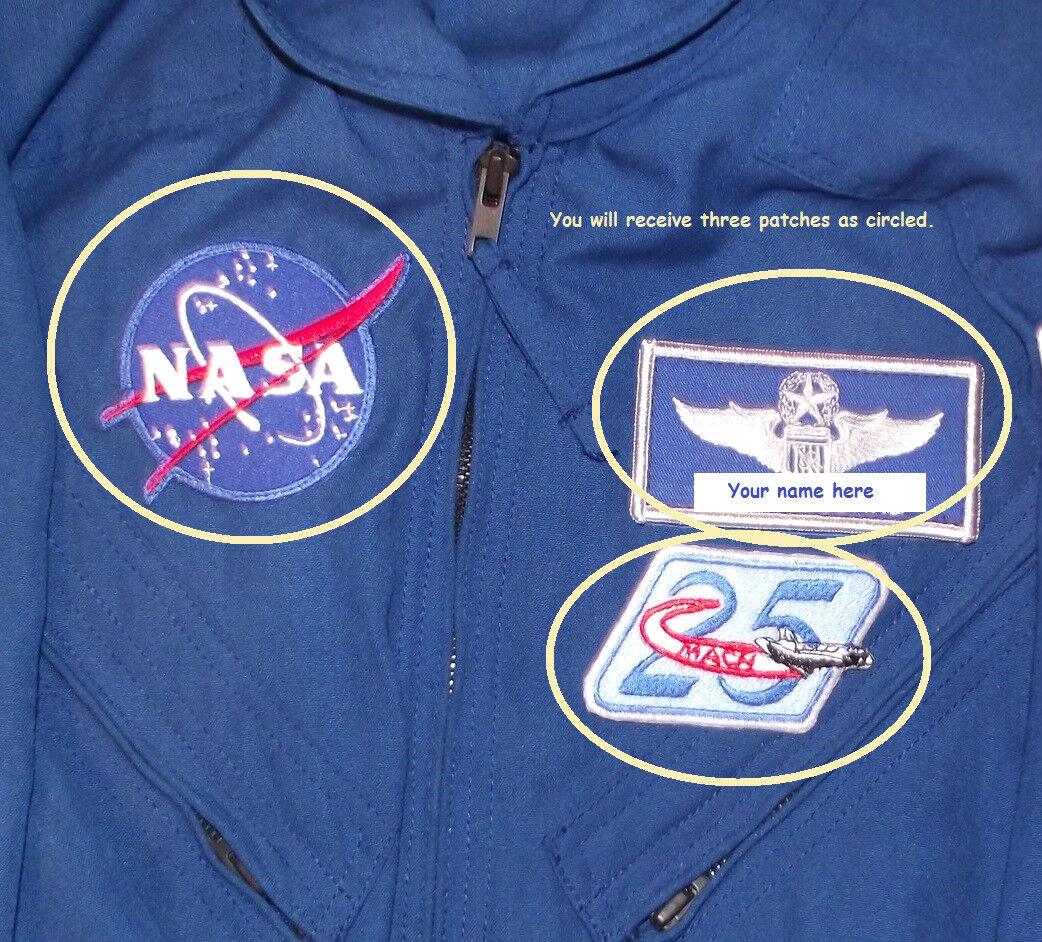 NASA SPACE PROGRAM FLIGHT SUIT 3-PATCH SET includes Custom ...