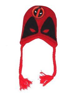 3ffac526a21 Image is loading Marvel-Deadpool-laplander-Mask-Beanie-hat-Mens-one-