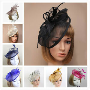 Ladies Flower Feather Fascinator Aliceband Hat Hair band Formal Race Royal