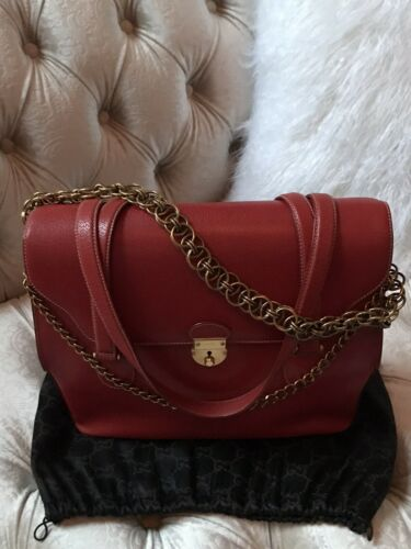 Authentic Gucci Red Handbag Free Dust Bag Chain Be