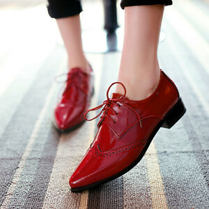 Womens-Girls-British-Brogue-Patent-Leather-Pointy-Toe-Lace-Up-Chunky-Heels-Shoes