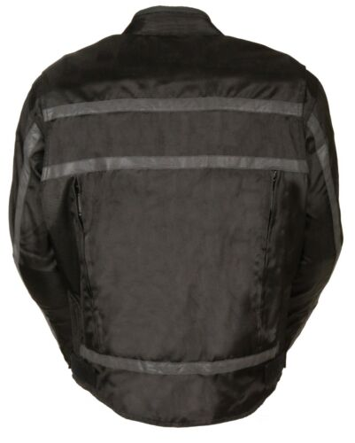 MEN/'S MOTORCYCLE RACER TEXTILE JACKET WITH REFLECTIVE STRIPES LIGHT WEIGHT BLK