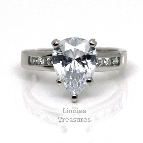 Pear Shaped CZ Ring 925 Sterling Engagement w Channel accents Women's 3.86 CTW