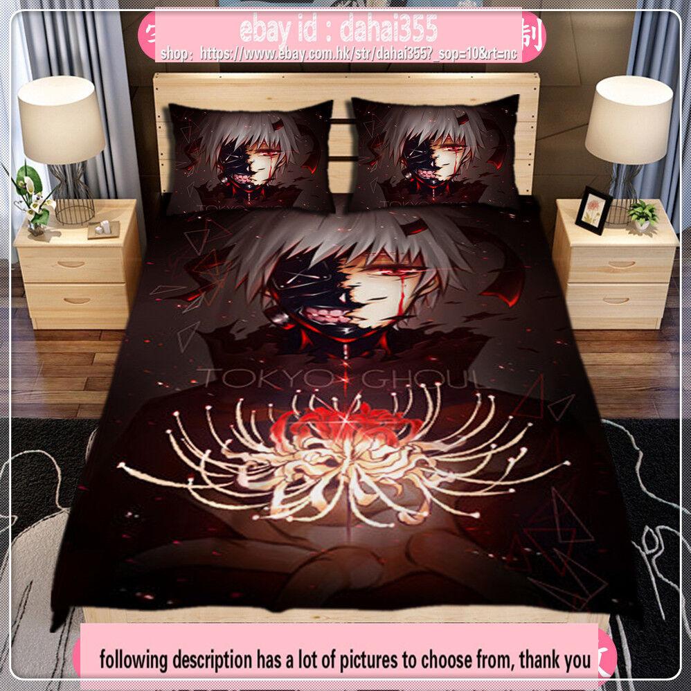 Anime Tokyo Ghoul Quilt Cover Otaku Full Set Bed Sheet Bedding 59