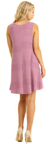 UMGEE Womens Pink Ribbed Stretch Knit Sleeveless  Swinger Maxi Midi Dress S M L