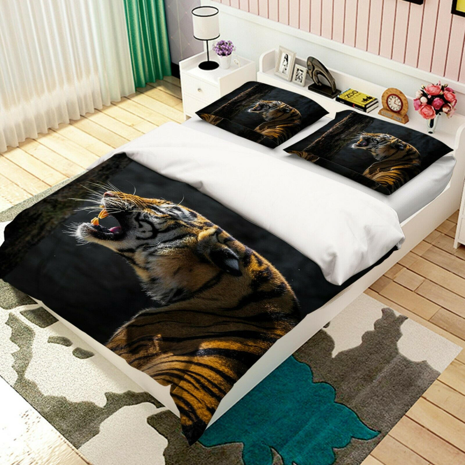 3D Roar Tiger T07 Animal Bed Pillowcases Quilt Duvet Cover Set Queen King Sunday