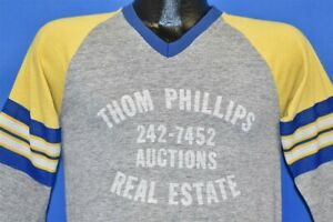 Vtg 80s Thom Phillips Auctions Real Estate Rayon Tri Blend 3 4 Jersey T Shirt S Ebay
