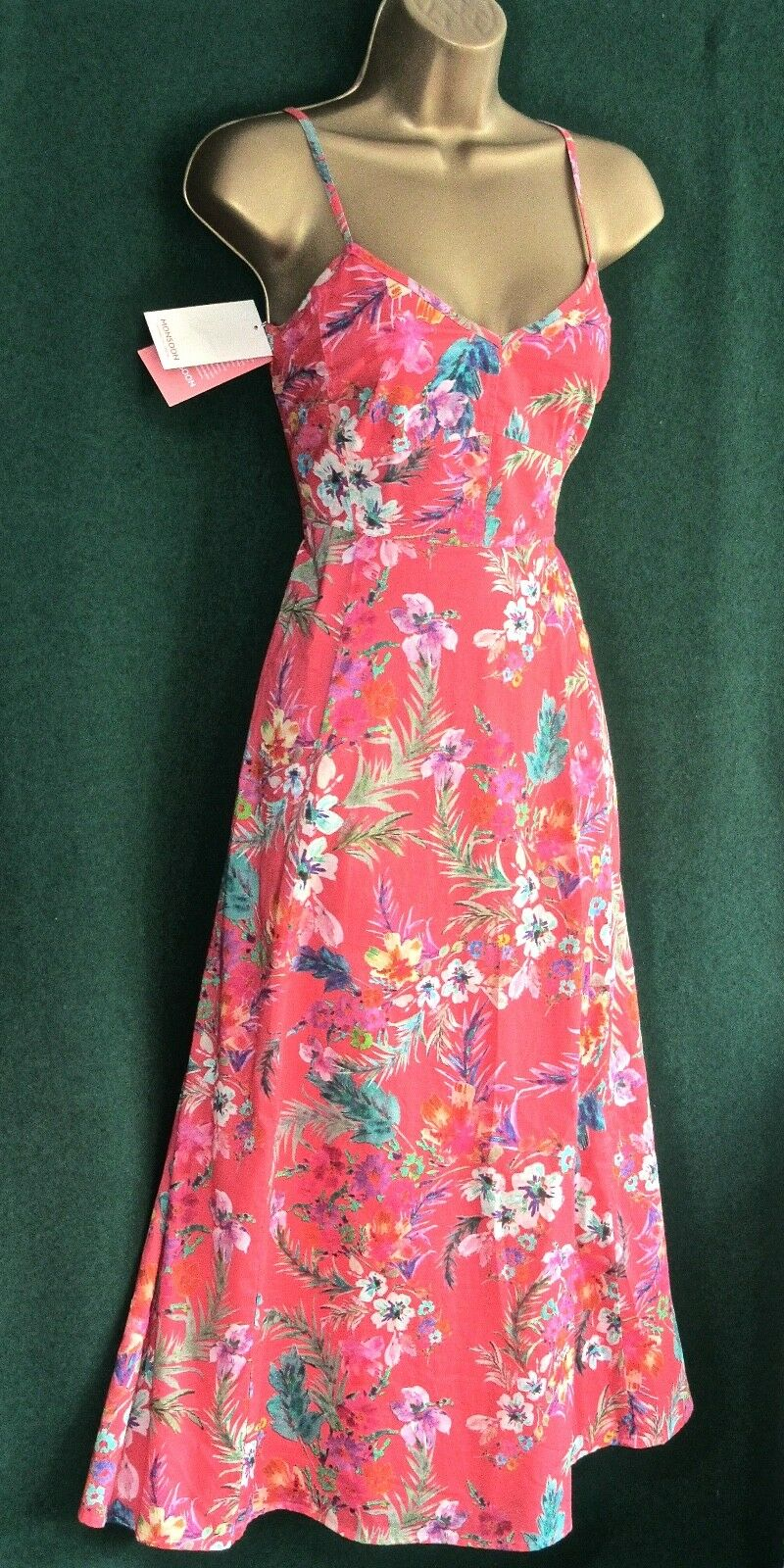 New MONSOON Coral Pink LINDSAY Floral Cotton Holiday Summer DRESS